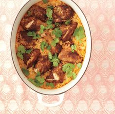Curried Chicken with Coconut Rice~ All you need with this one-pot dish is a quick salad. Toss sliced cucumber and tomato with a squeeze of fresh lemon juice and salt and pepper.
