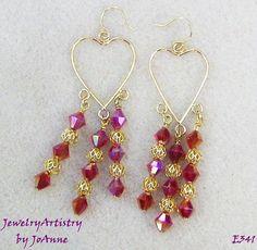 Handmade Heart Earrings  Red Swarovski & by JewelryArtistry, $35.00