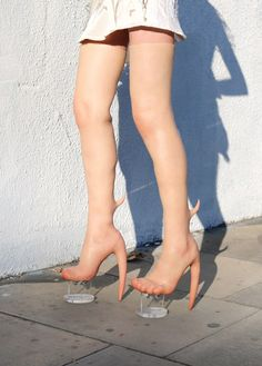 after a pair of digitally altered 'skin heels' attracted vogue for their flesh-like appearance, canadian fashion brand fecal matter has actually made them. Crazy Heels, Heeled Boots, Stiletto Heels, Beauty Hacks, Photoshop, Cool Stuff, How To Wear, Lifestyle, Clothes