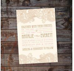 Custom Country Paisley Shabby Chic Wedding Invitation on Etsy, $2.25