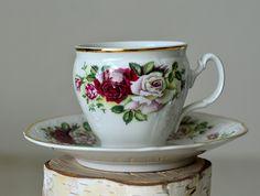 Vintage, Teacup and Saucer,Baum Bros,Fine Bohemian China,Czech Republic,Rose tea…