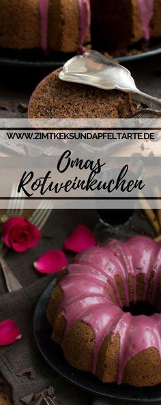 Klassisch, lecker, einfaches Rezept: Omas wundervoll saftiger Rotweinkuchen mit viel Schokolade... ganz schnell selber backen