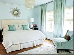 Such a pretty, soothing room...love the wall colors and crisp, white bedding {Gus & Lula Blog}