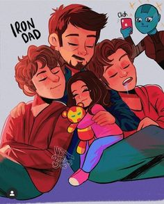 (eng 🇺🇲 /esp 🇪🇦) Iron dad and his Iron kids (Nebula too) ❤️❤️ don't want to hurt you but he'll never see his kids growing up 🙃 ~ ~ El toño… Marvel Comics, Marvel Cartoons, Marvel Jokes, Disney Marvel, Marvel Funny, Marvel Heroes, Marvel Avengers, Avengers Memes, Superfamily Avengers