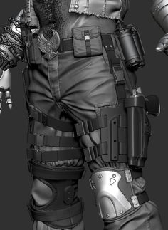 ZBrush sculpt of Jax Briggs from Mortal Kombat X. Zbrush Character, 3d Model Character, Character Modeling, Character Creation, Character Design, Cyberpunk Anime, Cyberpunk Art, Special Forces Gear, Surface Modeling