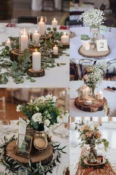 Tree Centrepiece Wedding, Simple Wedding Centerpieces, Wedding Table Centerpieces, Centerpiece Ideas, Rustic Wedding Table Decorations, Mason Jar Centerpieces, Whimsical Wedding Decor, Tree Stump Centerpiece, Natural Wedding Decor