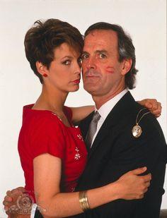 Jamie Lee Curtis as Wanda and John Cleese as Archie Leach in 'A Fish Called Wanda', 1988.