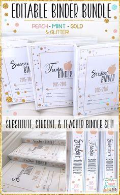 Editable Teacher Binder Set! Teacher, Student, and Substitute Binders