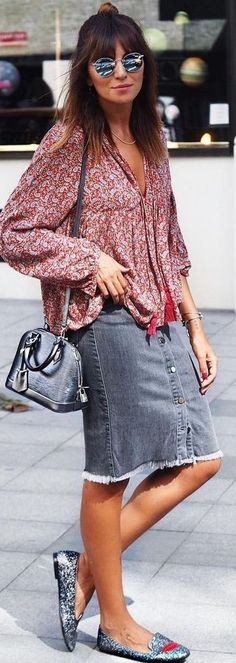 #fall #trending #outfits |  Boho Blouse + Denim Skirt