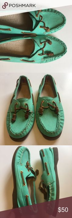 Sperry for J Crew seafoam green boatshoe EUC. No signs of wear! Super cute color! I wish they fit me. Color is as photographed. Sperry Top-Sider Shoes Flats & Loafers