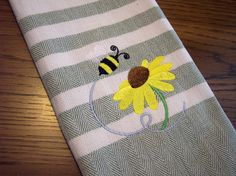 bumble bee kitchen | Buzzing Bumble Bee Kitchen Towel by YourWayEmbroidery on Etsy
