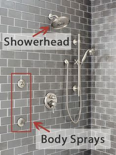Shower System with Showerhead and Body Sprays Labeled Shower Jets, Spa Shower, Master Shower, Master Bathroom, Showerheads And Body Sprays, Small Bathroom, Bathroom Ideas, Multiple Shower Heads, Dream Master Bedroom