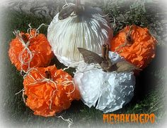 adorable coffee filter pumpkins!!! coffee filters glued to cinnamon sticks & leafs are made from burlap scrap tied on, curly's are made from twine wrapped around a pencil to curl - so cute! see: http://memakingdo.blogspot.com/2010/09/coffee-filter-pumpkins.html