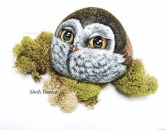 Owl, hand painted rocks by Shelli Bowler