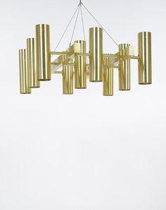 Hans-Agne Jakobsson; Brass Ceiling Light, c1970.