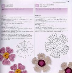 Crazy ideas: Two models of crocheted flowers, pattern and instructions.