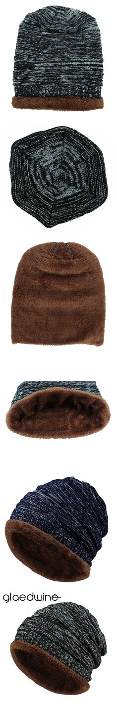 881e415cf89 Glaedwine 2017 Autumn Winter Hat For Men Women Knitted Plaid Beanies  Skullies Keep Warm Add Velvet