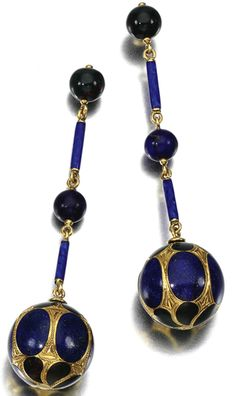 PAIRS OF GEM-SET EARRINGS One pair of pendent earrings each set with bloodstone and lapis lazuli, to the blue enamel baton surmount, some stones need resetting.