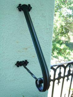 1 to 2 Step Wrought Iron Grab Rail Stair Railing Handrail Step Rail Wall Mount Made in the USA - Bestpin Porch Step Railing, Porch Handrails, Exterior Handrail, Outdoor Stair Railing, Iron Handrails, Wrought Iron Stair Railing, Porch Stairs, Hand Railing, Handrail Brackets