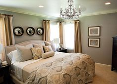 Paint color - Ashes by Behr  like the gree/gray walls with the gold/yellow/beige colored curtains
