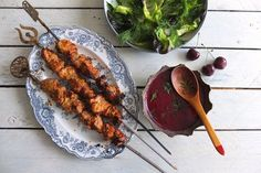 Helen's stunning grilled pork recipe is served with a sweet and sour cherry sauce inspired by the Georgian sauce tkemali. An unforgettable combination of flavours, perfect for a summer barbecue.