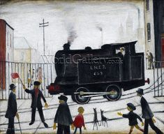 Laurence Stephen Lowry R. (British, Level Crossing with Train Banksy, English Artists, Art Uk, Naive Art, Contemporary Paintings, Unique Paintings, Fresco, Painting & Drawing, Folk Art