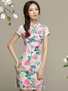 Sweet Short Floral Linen Cheongsam / Qipao Dress for Summer
