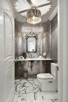 glam bathroom in silver