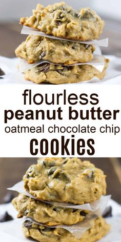flourless peanut butter oatmeal chocolate chip cookies - these taste so good and great gluten free dessert recipe Keto Cookies, Best Gluten Free Cookies, Gluten Free Cookie Recipes, Healthy Cookie Recipes, Healthy Cookies, Healthy Desserts, Gluten Free Oatmeal Cookie Recipe, Cheese Cookies, Flourless Chocolate Chip Cookies