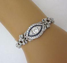 Amazing Antique 7 60 Carat Large Diamond Platinum Art Deco Sapphire Bracelet | eBay