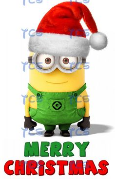 Minion Despicable Me Merry Christmas Universal Santa Hat Cards Iron on transfer DIY Printable DIGITAL IMAGE instant download