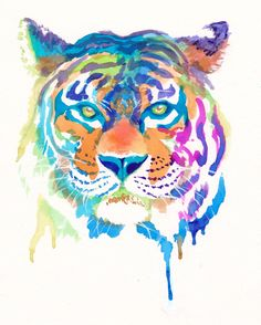 Colorful Tiger Art Print - Gifts - Rainbow - Cute - Animals - Wild by FuzzyLlamas on Etsy https://www.etsy.com/listing/153669925/colorful-tiger-art-print-gifts-rainbow