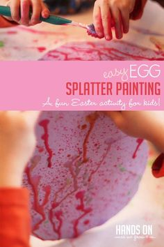 Make pretty Easter art with a messy fun splatter painting technique that preschoolers simply adore! Fine Motor Activities For Kids, Activities For 2 Year Olds, Outdoor Activities For Kids, Easter Activities, Toddler Activities, Kids Motor, Easter Crafts For Toddlers, Toddler Crafts, Toddler Art