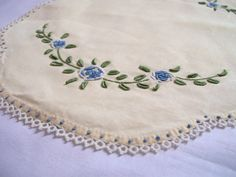 Vintage Doily with Sweet Blue Flowers by jclairep on Etsy, $6.00