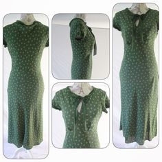 Green Silk Dress by Sundance (Robert Redford's), 8 Clean, feminine lines and sophisticated detailing highlight this silk Sundance dress in size 8.  Fabric is green with small pink flower detail print and 100% silk.  Dress is fully lined in a solid green slip, 100% poly.  Slips over head; tie at neck, side zip.  Falls just below knee.  Extremely beautiful.  Cap sleeve.  In superb condition, as though never worn. Sundance Dresses Midi