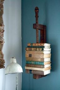 Repurposed vice makes a cool bookshelf...