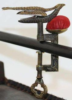 Beautiful Antique Victorian Sewing Bird Clamp Pincushion