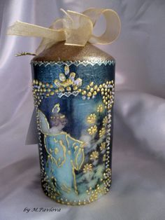 Vintage Christmas Candle. Christmas decorations. Christmas angel. Vintage Christmas. Santa claus . Green candle. Decoupaged candle. by VintageShabbyRustick on Etsy  #christmas #candle #angel