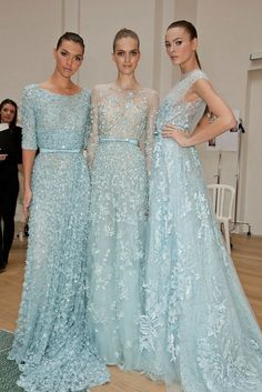 I don't usually like lace that much, but these are really beautiful - ice blue gowns - elie saab