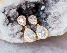 Crystal and Gold/Rose-Gold Teardrop Earrings, Jodie Pearl Earrings Wedding, Bridal Earrings, Crystal Earrings, Wedding Jewelry, Rose Gold Accessories, Wedding Accessories, Luxury Wedding, Gold Wedding, Jewelry Packaging