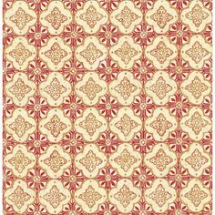 A - Street Prints Kismet Geo Quatrefoil Wallpaper Red / Brown - 1014-001853