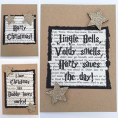 Harry Potter Christmas Card, Book Inspired Greetings Card, Various Designs, Christmas, Gift, Merchandise, Seasonal, Happy Holidays, Xmas by MarineBlueHandmade on Etsy https://www.etsy.com/listing/475232982/harry-potter-christmas-card-book