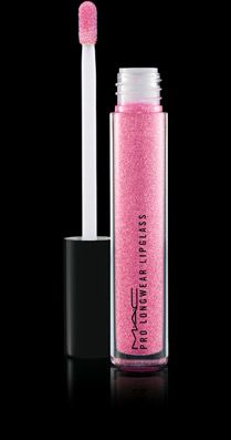 MAC Pro Longwear Lipglass in Next Fad (Midtone cool pink) It isn't as glittery as the image appears.