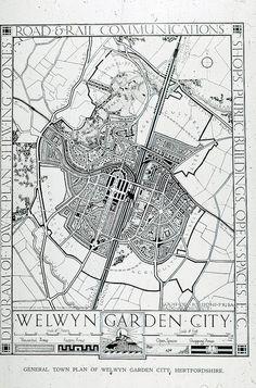 General Plan of Welwyn Garden City – - Modern Landscape Plans, Urban Landscape, Urban Design, Diy Design, Garden City Movement, City Layout, Cities, Stone Plant, City Maps