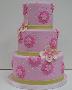 Pink and green cake with flowers