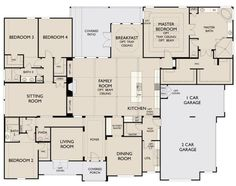 Remove toilet from bdrm 2 bath, move toilet to linen closet spot in bdrm 3 and 4 bath 5 Bedroom House Plans, Family House Plans, Ranch House Plans, Best House Plans, Dream House Plans, House Floor Plans, Build My Own House, Building A House, Modern Farmhouse Plans