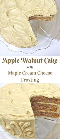 Cake with Maple Cream Cheese Frosting This moist and delicious Apple Walnut Cake makes the BEST dessert for Thanksgiving and Fall gatherings!This moist and delicious Apple Walnut Cake makes the BEST dessert for Thanksgiving and Fall gatherings! Brownie Desserts, Oreo Dessert, Mini Desserts, Just Desserts, Delicious Desserts, Dessert Recipes, Yummy Food, Food Cakes, Cupcake Cakes