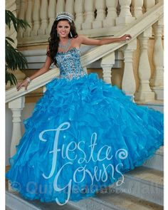 Quinceanera Dress #56246 Quinceanera dress with organza fabric and pictured in the turquoise blue color. Lace up back.