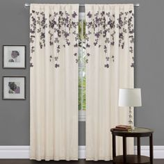 Interior. white fabric curtain with grey blossom accent on the hook connected by double square black picture frames on grey wall. Astonishing White Curtains With Green Leaves To Cover The Window And Shower Room