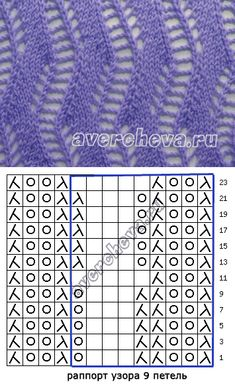 узор спицами 545 ажурная дорожка | каталог вязаных спицами узоров